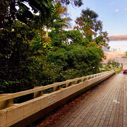 Reeds Island Historic Wooden Bridge in Hilo, HI (Restored 2013-2014)
