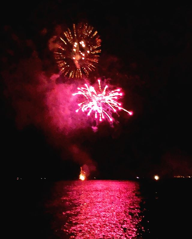 Strawberry Fireworks over Hilo Bay