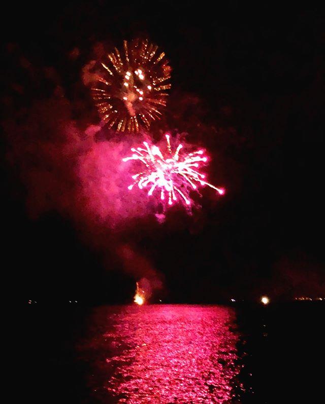 Strawberry Fireworks over Hilo Bay