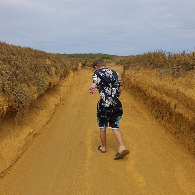 Walking the Golden Sandy Trail to Green Sand Beach at South Point, Hawaii