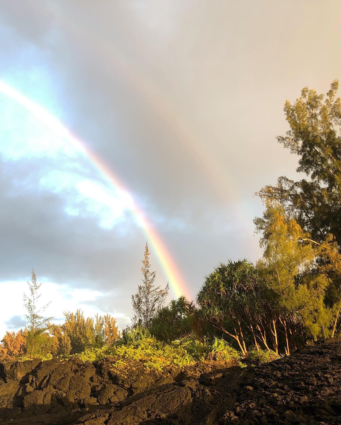 Double Rainbow above Richardson Ocean Park, Hilo, Hawaii