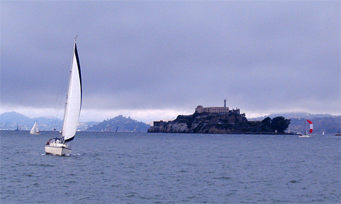 White Sailboat with Alcatraz Island behind