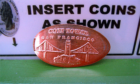 A pressed Coit Tower penny