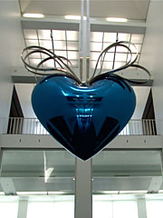 Huge Blue Metal Heart by Koons