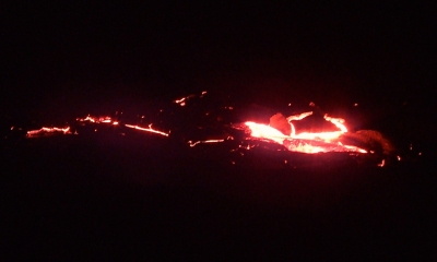 Lava flow on edge of Kalapana, HI