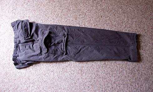 Cargo Pants folded along zipper
