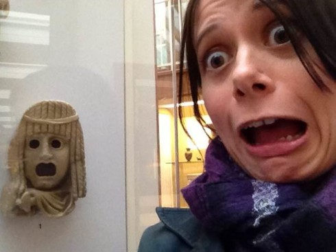 Scared Rachelle in a museum